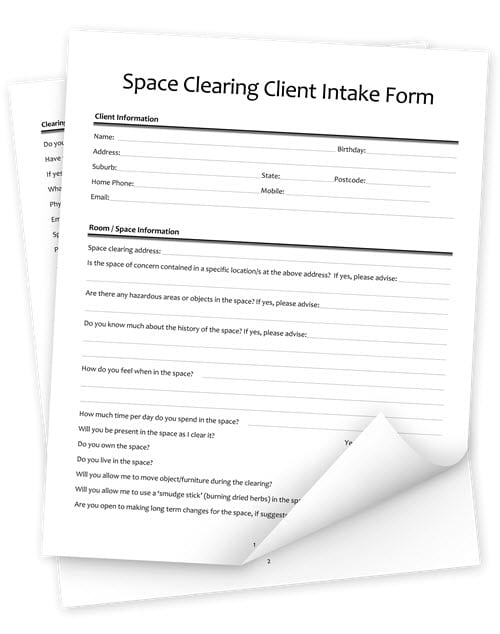 Space Clearing Client Intake Form (PDF and DOC)